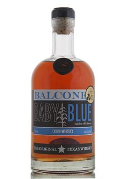 Balcones Baby Blue, made from 100% blue corn (atole). Baby Blue was the first Texas whisky on the market since prohibition, and also received a 5-star rating from F. Paul Pacult's Spirit Journal. Not only that, at the San Francisco World Spirits Competition, it received a Double Gold medal! Not bad for a company that formed little over 5 years ago…  http://www.abbeywhisky.com/balcones-baby-blue-american-corn-whisky