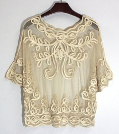 Sexy Scoop Neck Applique See-through Batwing Sleeve Blouse For Women