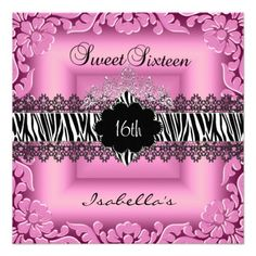 Sweet 16 16th Pink Zebra Lace Sweet Sixteen Announcements