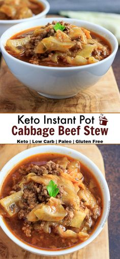 Keto Instant Pot Cabbage Beef Stew is an easy to make, healthy, budget friendly, low carb, gluten free recipe with a paleo option. Lunch Recipes, Paleo Recipes, Real Food Recipes, Soup Recipes, Dinner Recipes, Ketogenic Recipes, Fish Recipes, Recipies, Keto Cabbage Recipe