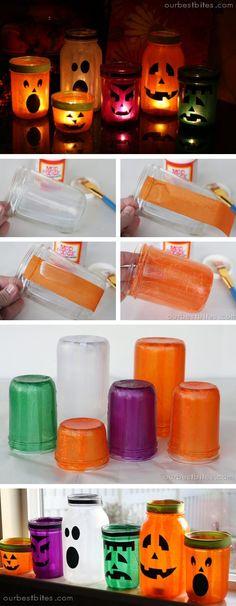 DIY Mason Jar Halloween Crafts: Haunted Light-Up Mason Jar Monsters