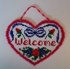 Perler bead Valentine Welcome heart (adapted from a cross-stitch pattern) by Joanne Schiavoni