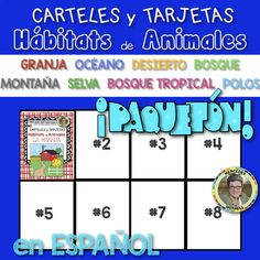 Growing Bundle: ANIMAL HABITATS Posters and Cards for the FARM OCEAN DESERT MOUNTAIN FOREST JUNGLE RAINFOREST and POLAR REGIONS in SPANISH titled ¡Paquetón! CARTELES y TARJETAS de Hábitats de Animales en la GRANJA SELVA MONTAÑA el OCÉANO DESIERTO BOSQUE BOSQUE TROPICAL y los POLOS en ESPAÑOL ♦ The initial price for