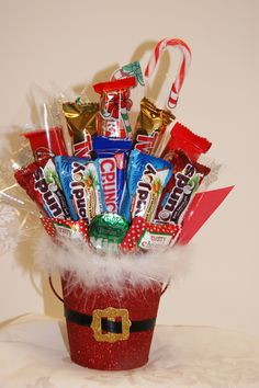 christmas candy bouquets | Christmas Santa Pail Bouquet | Bouquets by Beth