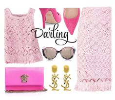 """Sweet Darling"" by firstboutique ❤ liked on Polyvore featuring Ermanno Scervino, Kate Spade, Cutler and Gross, Versace, Yves Saint Laurent, Pink and oversizedflorals"