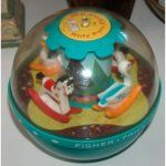 Fisher Price Rocking Chime Ball.  The animals rock back and forth and the ball chimes as the baby moves it.
