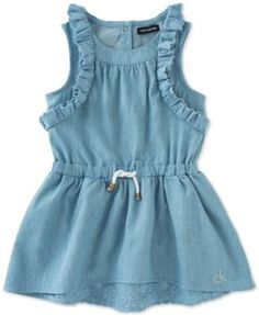Perfect for casual parties and special days for baby girl, this darling denim dress from Calvin Klein gets an extra touch of sweetness thanks to delicate eyelet details. Little Girl Fashion, Toddler Fashion, Kids Fashion, Baby Girl Dresses, Baby Dress, Girl Outfits, Babe, Baby Swag, Eyelet Dress