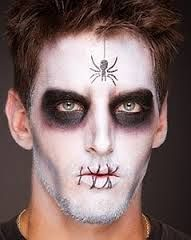 black white halloween makeup men Maquillaje calavera hombre