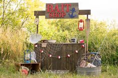Natural Beauty Photography's Fishing Bait shop along the river. Natural cosmetics shop for fishi 4th Birthday Parties, 1st Boy Birthday, Birthday Ideas, Themes Photo, Photo Ideas, Picture Ideas, Picture Booth, Fish Stand, First Birthday Pictures