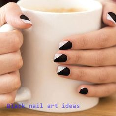 In look for some nail designs and ideas for your nails? Listed here is our list of must-try coffin acrylic nails for trendy women. Black And White Nail Designs, Black Nail Art, Black Gel Nails, Black White Nails, Cute Black Nails, Acrylic Nails Yellow, Black French Manicure, Simple Acrylic Nails, Summer Acrylic Nails