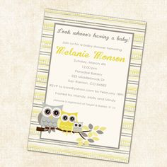 owl baby shower invitations with gray and yellow by katiedidesigns