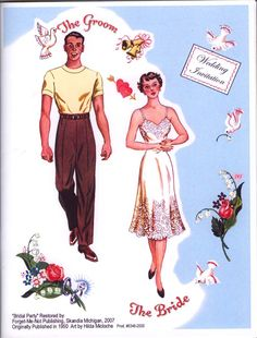 Paper Dolls:  Bridal Party,  Bride and Groom, 1950