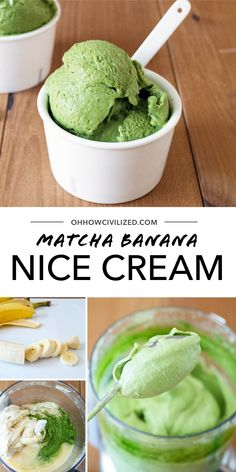 "If you're looking for a healthy dessert that looks exactly like ice cream, this is it! Just takes three ingredients to make this green tea ""ice cream"" that's made with frozen bananas, green tea and a little something sweet. Green Tea Ice Cream, Banana Nice Cream, Matcha Dessert, Green Tea Recipes, Tea Sandwiches, Matcha Green Tea, Tea Cakes, Mini Desserts, Frozen Banana"