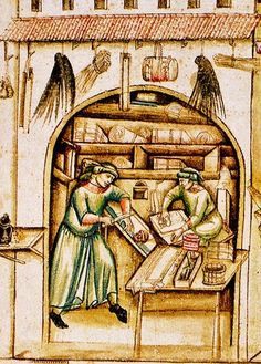 Parchment Sellers scrubbing & stretching the parchment 15th century Bologna, University Library. Cod. Bonon. 963, f. 4.