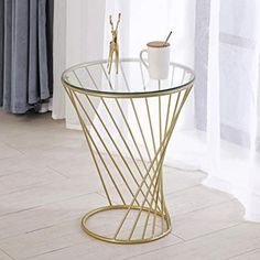 Hongyan Nordic Small Round Table/Coffee Table/Sofa Side/Bedside Table Storage/Wrought Iron Spiral Small Round Table (Color : Gold, Size : Diameter 38cm) Raw Wood Furniture, Moving Furniture, Iron Furniture, Deco Furniture, Unique Furniture, Home Decor Furniture, Coffee Table Flowers, Tea Table Design, Table Decor Living Room