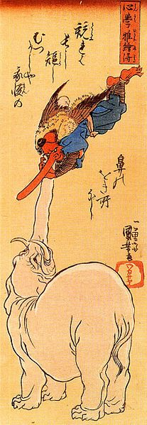 「天狗と象」歌川国芳 Elephant catching a flying tengu;Kuniyoshi Utagawa