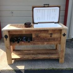 Woodworking Joinery Table Saw Reclaimed Barnwood Bar Cart Cooler Cabinet Wine Bar Console Pallet Cooler, Wooden Cooler, Patio Cooler, Diy Cooler, Outdoor Cooler, Outdoor Bar Cart, Woodworking Organization, Woodworking Joints, Woodworking Workbench