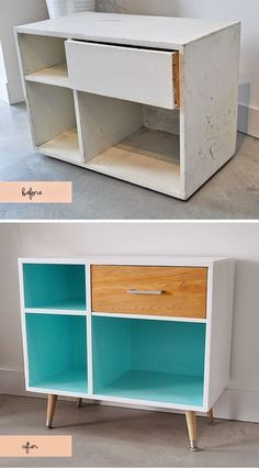 Legs can turn a ratty cabinet into a Mid-Century Modern wonder. | 19 Furniture Makeovers That Prove Legs Can Change Everything