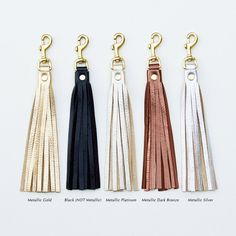 Leather Tassel Keychain Tassel Purse Charm Tassel by JillyDesigns- silver