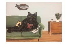 This is a print, on thick 110 matte card stock, of an original painting of mine. Thanks for shopping! Creepy Animals, Original Paintings, Original Art, Scary Cat, Japanese Cat, Cat Posters, Funky Art, Surreal Art, Animal Paintings