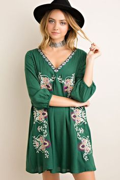 - Embroidery shift dress featuring scooped v-shape back with lace-up detail. Elasticized sleeve cuff. Fully lined. Non-sheer. Woven. Lightweight. - 100%RAYON