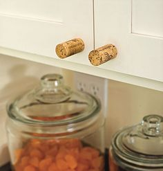 Cute idea from a house in southern living.  I think I would use champagne corks though.