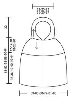 """Erendruid - Ponczo DROPS z kapturem, na szydełku, z wzorem wachlarzy, przerabiane z góry na dół, z włóczki """"Andes"""". Od S do XXXL. - Free pattern by DROPS Design"""