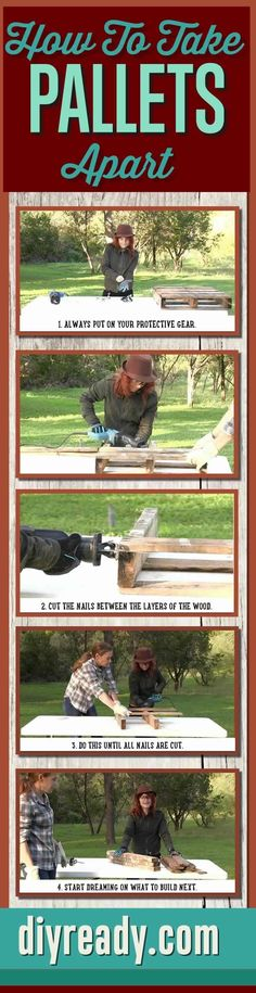 How To Take A Pallet Apart | Easy Way to Deconstruct Pallets for DIY Projects and Crafts | Step-by-Step Tutorial and How-To Infographics http://diyready.com/the-easy-way-to-deconstruct-a-pallet/