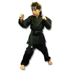 Kids Black Karate Costume now available at http://www.karatemart.com