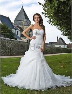 Cariño capilla tren organza vestido de novia