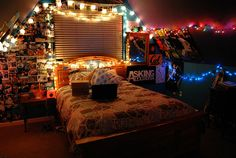 pictures on wall string lights posters emo scene interior decoration