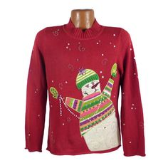 Ugly Christmas Sweater Vintage Snowman by purevintageclothing