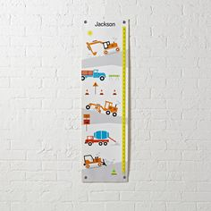 Shop Construction Growth Chart.  Track your little one's growth with this Construction Growth Chart.  It features colorfully illustrated construction equipment kids love.