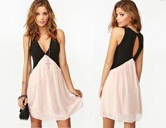 Cut Cut Back Deep V Chiffon Dress