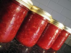 The rhubarb harvest in our area is just beginning. The first crop from my garden went into jam this week.and we enjoyed it on fresh biscu. Rhubarb Freezer Jam, Rhubarb Jelly, Rhubarb Jam Recipes, Strawberry Rhubarb Jam, Strawberry Jello, Jello Recipes, Canning Recipes, Syrup Recipes, Canning 101