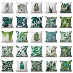 Plant Cushion Cover Tropic Tree Green Throw Pillow Cover palm leaf Decorative Pillows Flower Cushion Cover for Sofa Car Home Tropical Bedroom Decor, Tropical Bedrooms, Tropical Decor, Funky Cushions, Cushions On Sofa, Cushion Covers, Throw Pillow Covers, Green Throw Pillows, Sofa Throw
