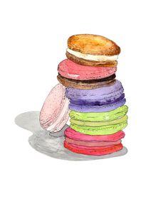 Macarons Print - Marcella Kriebel Art and Illustration Cookie Drawing, Cupcake Drawing, Macaron Cookies, Macarons, Pen And Watercolor, Watercolor Paintings, Watercolor Ideas, Watercolors, Food Design