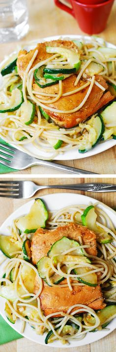 Grilled Salmon and Parmesan Zucchini Pasta (Spaghetti) - delicious and easy-to-make! Healthy dinner full of omega 3 oils! #fish #recipe