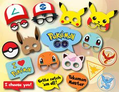 Instant Download Pokemon Go Photo Booth Props, Pokemon Birthday Party Photo Booth Props, Pokemon Go Party Printable Photo Booth Prop 0417