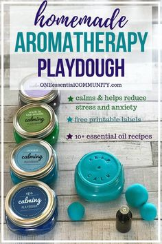 This is the absolute best homemade aromatherapy playdough to help ease stress and anxiety. Easy to customize and make your perfect scent with info about calming essential oils and soothing aromatherapy recipes. Super easy to make, uses common in Calming Essential Oils, Essential Oil Uses, Essential Oils For Babies, Doterra Calming Blend, Essential Oils Anxiety, Young Living Essential Oils For Anxiety, Essential Oils Energy, Essential Ouls, Essential Oil Inhaler