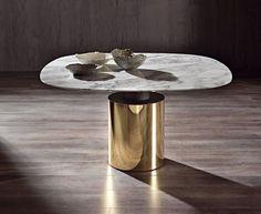 MODERN FURNITURE | gold and marble dining table | bocadolobo.com/ #luxuryfurniture #designfurniture: