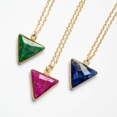 Gold Emerald Necklace, Green Triangle Necklace, Emerald Pendant Necklace, Emerald Necklace Gold, Geometric Necklace, May Birthstone Necklace by Gemstonique on Etsy https://www.etsy.com/listing/263846244/gold-emerald-necklace-green-triangle