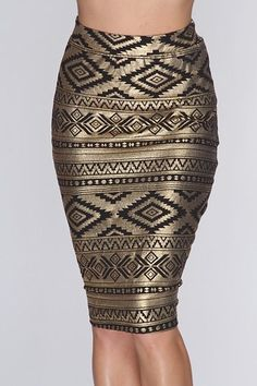 Gold Multi Shimmery Metallic Pencil Skirt / Sexy Clubwear | Party Dresses | Sexy Shoes | Womens Shoes and Clothing | AMI CLubwear #fashiondresses#dresses#borntowear