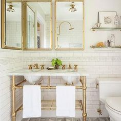 Marble and Brass Double Washstand with Shelf and Gray Prism Marble Floor Tiles