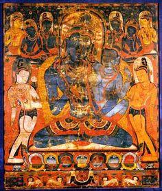 """Thang-ka : """"L'âdibuddha Vajrasattva (rDo-rje semsdpa') et sa parèdre""""- Tibet méridional Première moitié du XIIIème siècle Détrempe sur toile"""