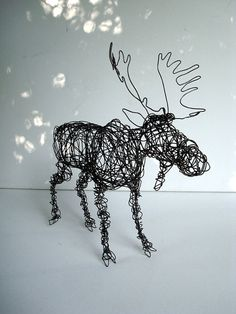 Unique Wire Animal Sculpture - BULL MOOSE. $105.00, via Etsy.