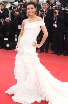 Eva Longoria White Formal Dress Red Carpet Celebrity Dresses Cannes Festival 2010