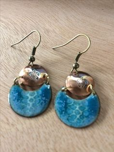 enamel earrings deep ocean blue with punched sea turtle