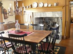 FARMHOUSE – INTERIOR – early american decor inside this vintage farmhouse seems perfect with windsor chairs.