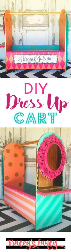 Playful Dress Up Cart - Children's storage for costumes - Painted Dress Up Wardrobe - Kids Rooms - Nursery - Play Rooms - Painted Furniture by TraceysFancy